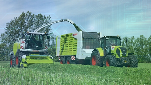 Bildmarke Smart-Farming-Welt [Foto: www.claas-gruppe.com; Collage: FIR]